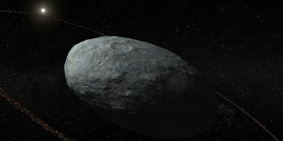 Artistic illustration of Haumea and its ring system